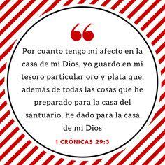 Mi afecto por la Casa de Dios, me hace entregar de lo mejor de mi tesoro personal al Señor!