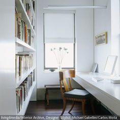 Schmales, Helles Arbeitszimmer Bücherregal Schmal, Dunkle Räume, Kleine  Zimmer Einrichten, Kinderzimmer Einrichten