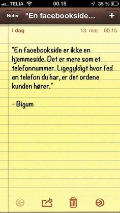 """""""En facebookside er ikke en hjemmeside. Det er mere som et.."""" (Dagens citat af @thomasbigum)"""