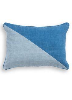 The Elbert Rectangular Cushion, in Blue. A geometric cotton cushion, designed by MADE Studio. £12. MADE.COM