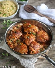 Moroccan slow cooker chicken thighs with chickpeas, olives made in a crockpot and paired with a quick herb couscous.