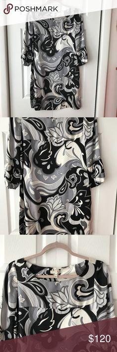"NWT Joie Ladytron Silk Dress Joie Womens Black Gray Ladytron Silk Paisley Print Shift Dress   Bust: 18"" Length: 33"" Joie Dresses"