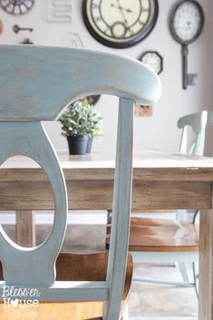 Duck Egg Blue Distressed Dining Chairs | Bless'er House - My favorite color/finish!