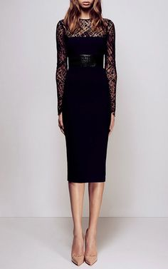 Mabelle Lace Long Sleeve Plastic & Satin Crepe Pencil Dress by ALEX PERRY for Preorder on Moda Operandi