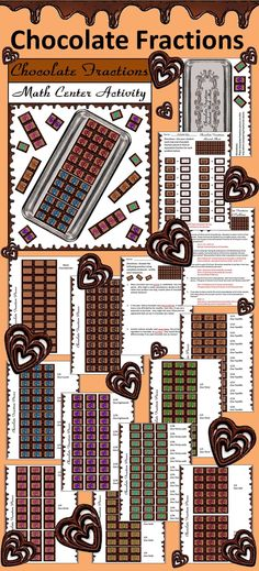 Chocolate Fractions Activity: Valentine & Easter math activity center that teaches fraction equivalency in a hands-on and fun way using printable Valentine's Day chocolate candy bar manipulatives.   Contents include: * Instruction Sheet * Student Work Mat * Student Record Sheet * Word Problems * Writing Activity * Blank Chocolate Bar * Set of Chocolate Fraction Pieces - 1 Whole, 1/2, 1/3, 1/4, 1/6, 1/9, 1/12, 1/18, and 1/36   #Valentines #Day #Easter #Math #Fractions #Worksheets…