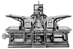 1814 Würzburg: A double version of Koenig's cylinder printing press prints 'The Times' - the first newspaper in history to be printed on a steam-driven machine. Pinned from kba.com  http://www.kba.com/en/company/history/