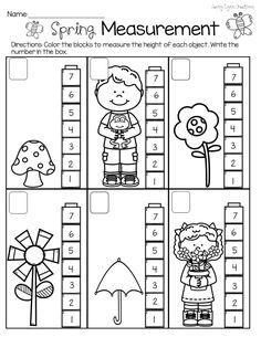 Spring Measurement Non-standard measurement packet for Pre-K and Kindergarten Measurement Kindergarten, Measurement Activities, Kindergarten Math Worksheets, In Kindergarten, Preschool Activities, Math Games, Free Preschool, Preschool Learning, Middle School