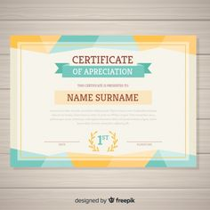 Modern certificate of appreciation with origami shapes Vector Certificate Layout, Certificate Model, Certificate Background, Certificate Frames, Free Printable Certificate Templates, Certificate Design Template, Banner Template, Classroom Charts, Certificate Of Appreciation