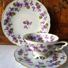 Vintage Violets Teacup Saucer Dessert Plate from MrFilthyRotten