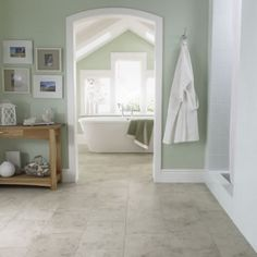 Excellent Bathroom Floor Tiles in Both Modern and Classic Styles : Soft Green Bathroom Interior Classic Bathroom Floor Tiles Design Light Green Bathrooms, Green Bathroom Interior, Bathroom Green, Bathroom Colors, White Bathroom, Revere Pewter, Design Seeds, Amtico Flooring, Tile Flooring