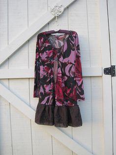 Purple gypsy tunic dress funky boho dress stretchy by ShabyVintage, $40.99