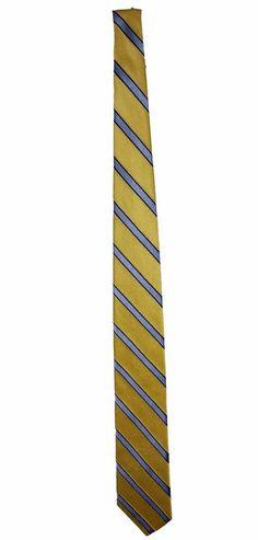 Tommy Hilfiger Mens Yellow Blue Striped 100% Silk Dress Necktie Neck Tie 58in #TommyHilfiger #Tie