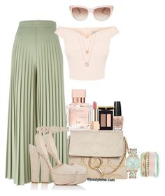 """""""Pleated Palazzo Pants with Nude"""" by jusstyleme on Polyvore featuring Chloé, Givenchy, Prada, OPI, Yves Saint Laurent, Maison Francis Kurkdjian, Kate Spade, Jessica Carlyle and Michael Kors"""