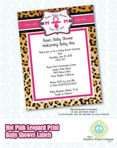 Leopard Print & Hot Pink Baby Shower label by MasterPeaceDesigns, $15.00