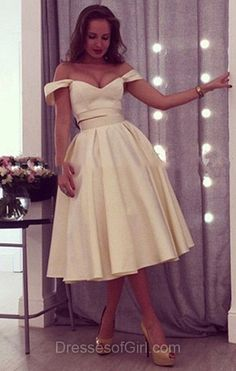 Two Piece Prom Dress, Off the Shoulder Prom Dresses, Champagne Homecoming Dress, Short Homecoming Dresses, Satin Cocktail Dress