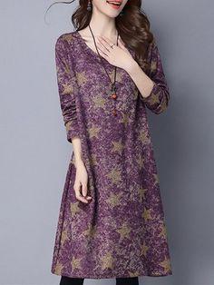 Women Stars Printed Long Sleeve Vintage Autumn Winter Dresses