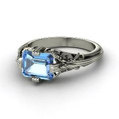 Acadia Ring, Emerald-Cut Blue Topaz Sterling Silver Ring from Gemvara