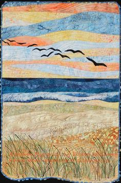 beach art quilt | Autumn Migration by Eileen Williams