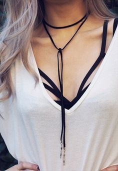 AZANI. Black Suede Bolo Wrap Choker Necklace