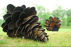 Repurposed shovels as pinecones.  This would take a lot of shovels.