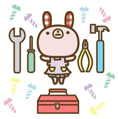 DIY女子 tool box #art#drawing#illustagram#illustration#original#character#rabbit#diy#toolbox#キャラクター#オリジナル#イラスト#うさぎ#サブちゃん#工具箱