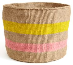 Pink and Yellow African Basket