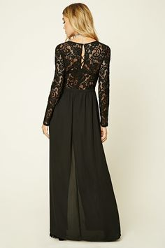 A maxi dress featuring a semi-sheer crochet lace bodice, woven M-slit skirt, long sleeves, round neckline, and a concealed back zipper.