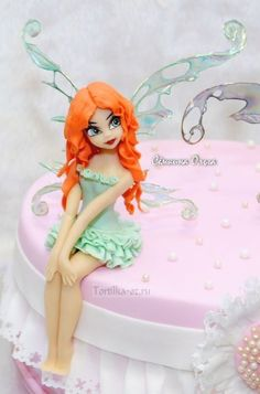 Fondant Cake Toppers, Fondant Cakes, Fondant Tree, Fondant People, Fantasy Cake, Fondant Animals, Barbie Cake, Clay Fairies, Fairy Cakes