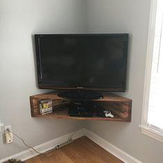 Corner Tv Shelves, Tv Shelf, Corner Wall, Console Tv, Corner Tv Console, New Hampshire, Rustic Shelves, Rustic Walls, Stain Colors