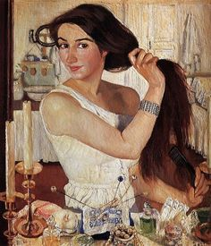 """SELF PORTRAIT: Zinaida Serebriakova, oils, 1909. Despite being more than a hundred years old,  this portrait seems very fresh and contemporary. Change the washbowl in the background to a computer screen and it could be any young woman at her """"toilette"""". What objects can you include in a self portrait that tell the viewer something about you?"""