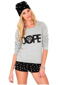 Ofelita Dope Slogan Sweater In Grey http://www.missguided.co.uk/catalog/product/view/id/62228/s/ofelita-dope-slogan-sweater/category/640/