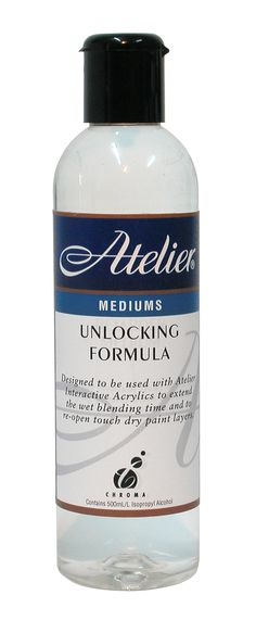 Atelier Unlocking Formula: Allows artists to re-open a paint layer  even after it is touch-dry. Once the paint  is re-opened, new paint can be blended  back in, existing paint edges can be  feathered or whole sections can be  removed with a rag. Use with the Fine  Mist Water Sprayer.
