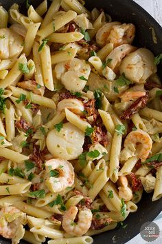 Restaurant quality food at home! This Key West Penne is filled with shrimp, scallops, sun-dried tomatoes and artichoke hearts in a light cream sauce - this is a pasta dish fit for a special occasion!