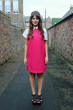 Miss Selfridge sixties shift dress with collared shirt underneath - The Little Magpie