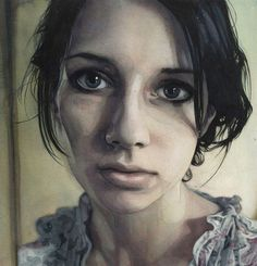Marcos Beccari, watercolor {figurative art beautiful female head asymmetry woman face portrait cropped painting}