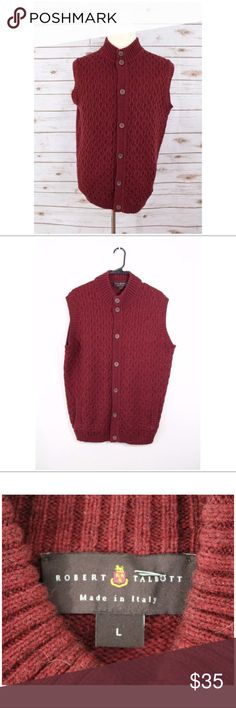 Robert Talbott Vest Wool blend cable Knit L W5 Term details & description:   Robert Talbott maroon red Men Vest Cardigan Wool blend cable-Knit Sweater Size L  Approximate Measurements in inches: (laying flat)   Armpit to armpit : 23 Shoulder to hem : 27 Robert Talbott Jackets & Coats Vests