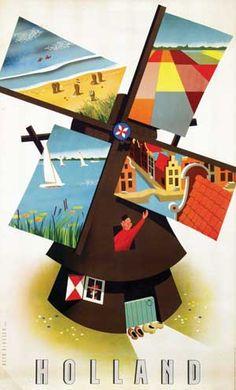 The Sights of Holland _____________________________ Les Pays Bas ~ Nederland ~ Netherlands Tourism Poster, Poster Ads, Poster Prints, Vintage Advertisements, Vintage Ads, Party Vintage, Travel Cards, Usa Tumblr, Vintage Travel Posters