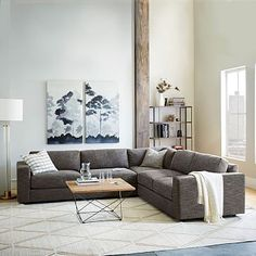 Urban 3-Piece Sectional, $3,097-$4,097, #westelm. For those that like the L-sofa idea.