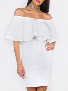 White Ruffle Off The Shoulder Bodycon Dress