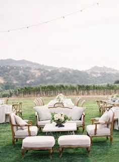 Vintage lounge furniture #elegantwedding #outdoorwedding #vintagewedding #reception #weddingideas