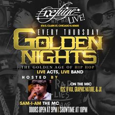 **Golden Nights will have Open Mic performances with a Dj & Live Band for local HipHop artists EVERY Thursday! Doors open 9pm. Showtime 10pm  I will be performing here 3/05/15 #damebaby LETS TRY THIS AGAIN! I'm n this thang