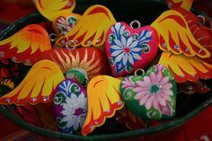Christmas heart with wings, Mexican Folk Art