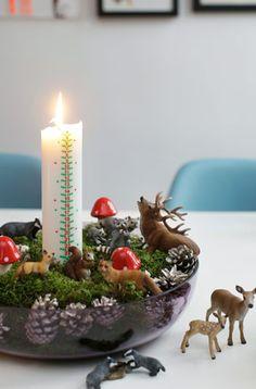 Årets adventskrans/kalenderlys opsætning