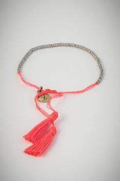 Orange bracelet with small silver beads. Low Stock, Silver Beads, Tassel Necklace, Orange, Bracelets, Jewelry, Bangle Bracelets, Jewellery Making, Jewerly