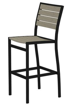 Polywood A102FABSA Euro Bar Side Chair in Textured Black Aluminum Frame / Sand