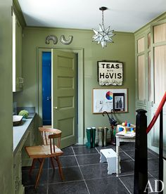 Decorating with Green: Entrance Hall by Miles Redd in Greenwich, Connecticut