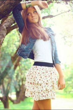 #Summer#skirt#jeans jacket