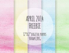 Free Watercolor Printable - 5 high resolution digital papers with watercolor textures in soft pastel colors - Freebie