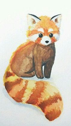 Red panda watercolor painting | animal painting, art, artwork, watercolor, nature, red, forest, wall art, small animal, cute animal, painting, watercolour, home decor, nursery decor, watercolour painting|