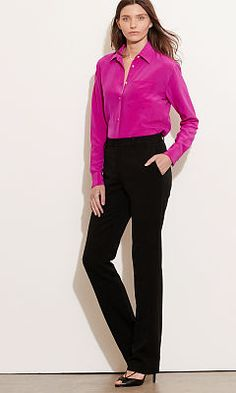 Stretch Wool Straight Pant - Lauren Pants - RalphLauren.com